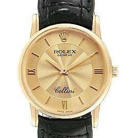 Rolex Cellini Classic Yellow Gold Decorated Dial Watch 5116