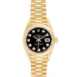 Rolex President Datejust Yellow Gold Diamond Ladies Watch 69178 Box Papers