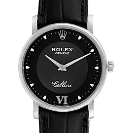 Rolex Cellini Classic 32mm White Gold Black Dial Mens Watch 5115