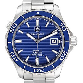 Tag Heuer Aquaracer Calibre 5 500M Blue Dial Mens Watch WAK2111 Box Card