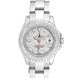 Rolex Yachtmaster 29 Red Hand Steel Platinum Ladies Watch 169622 Box
