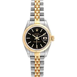Rolex Datejust Steel Yellow Gold Black Dial Ladies Watch 79173 Box Papers