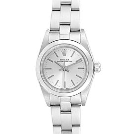 Rolex Oyster Perpetual 24 Nondate Silver Dial Ladies Watch 76080 Papers
