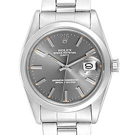 Rolex Date Grey Dial Oyster Bracelet Steel Vintage Mens Watch 1500