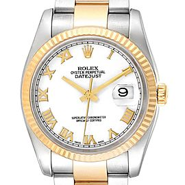 Rolex Datejust Steel Yellow Gold White Dial Mens Watch 116233 Box Papers
