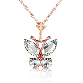0.6 CTW 14K Solid Rose Gold Butterfly Necklace Aquamarine