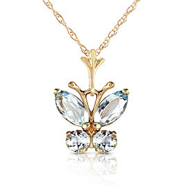 0.6 CTW 14K Solid Gold Butterfly Necklace Aquamarine