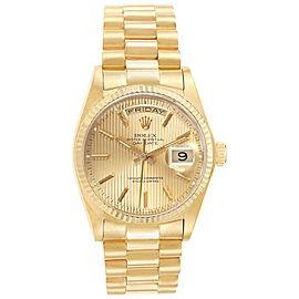 Rolex President Day-Date 36 Yellow Gold Mens Watch 18038 Box Papers