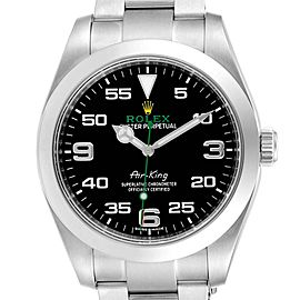 Rolex Oyster Perpetual Air King Green Hand Steel Mens Watch 116900
