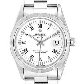 Rolex Date White Dial Oyster Bracelet Steel Mens Watch 15210 Box Papers