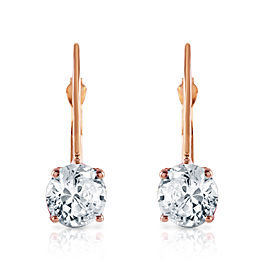 1 CTW 14K Solid Rose Gold Leverback Earrings 1.0 CTW Diamond