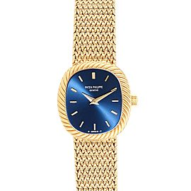 Patek Philippe Golden Ellipse 18k Yellow Gold Blue Dial Mens Watch 3548