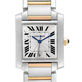 Cartier Tank Francaise Steel Yellow Gold Blue Hands Mens Watch W51005Q4
