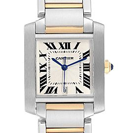 Cartier Tank Francaise Large Steel Yellow Gold Mens Watch W51005Q4