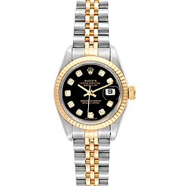 Rolex Datejust Steel Yellow Gold Black Diamond Dial Ladies Watch 79173