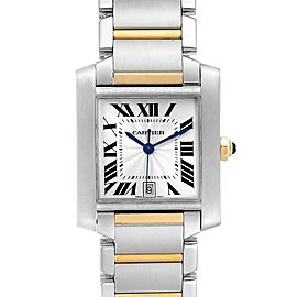 Cartier Tank Francaise Steel Yellow Gold Silver Dial Mens Watch W51005Q4