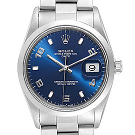 Rolex Date Blue Dial Domed Bezel Steel Mens Watch 15200 Box Papers