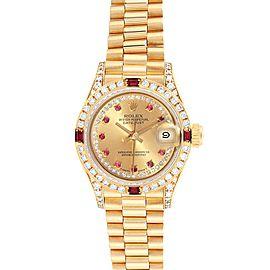 Rolex President Yellow Gold String Diamond Ruby Ladies Watch 69238