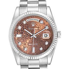 Rolex President Day-Date White Gold Diamond Mens Watch 118239 Unworn