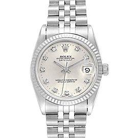 Rolex Datejust Midsize Steel White Gold Diamond Dial Ladies Watch 68274