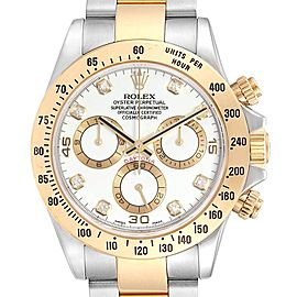 Rolex Daytona Steel Yellow Gold Diamond Chronograph Mens Watch 116523