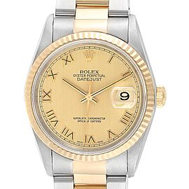 Rolex Datejust Steel Yellow Gold Roman Dial Mens Watch 16233