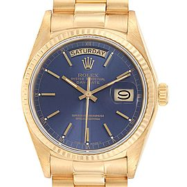Rolex President Day-Date Yellow Gold Blue Dial Mens Watch 18038