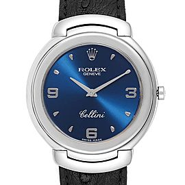Rolex Cellini White Gold Blue Dial Black Strap Mens Watch 6623