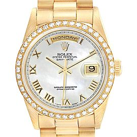 Rolex President Day-Date 36 Yellow Gold MOP Diamond Mens Watch 18238