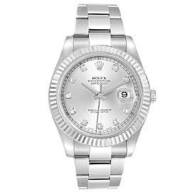 Rolex Datejust II 41mm Steel White Gold Diamond Dial Mens Watch 116334