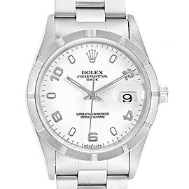 Rolex Date White Dial Automatic Steel Mens Watch 15210 Box Papers