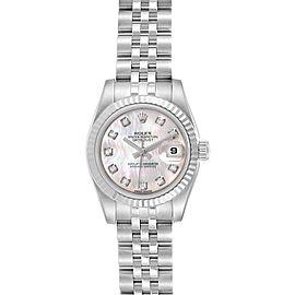 Rolex Datejust Steel White Gold MOP Diamond Ladies Watch 179174 Box Card