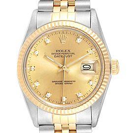Rolex Datejust 36 Steel Yellow Gold Diamond Vintage Mens Watch 16013