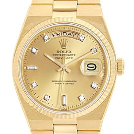 Rolex Oysterquartz President Day-Date Yellow Gold Diamond Watch 19018