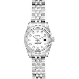 Rolex Datejust Steel White Gold Diamond Dial Ladies Watch 179174
