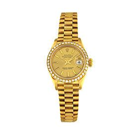 Rolex Datejust 69178 18K Yellow Gold & Diamond Bezel 26mm Womens Watch