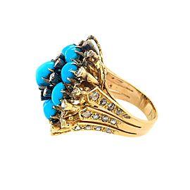 18 Karat Gold Turquoise and Rose Cut Diamond Ring