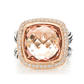 David Yurman Sterling Silver & 18K Rose Gold Diamond Morganite 14mm Albion Ring