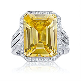 Platinum 18K Yellow Gold 11.19ct. Sapphire 0.48ctw. Diamond Ring Size 7