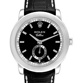Rolex Cellini Cellinium 35mm Platinum Black Dial Mens Watch 5241
