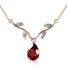 14K Solid Rose Gold Necklace withNatural Diamond & Garnet