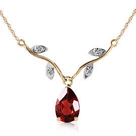 1.52 CTW 14K Solid Gold Shiny Personality Garnet Diamond Necklace