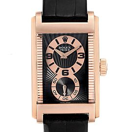 Rolex Cellini Prince Black Dial 18K Rose Gold Mens Watch 5442 Box Card