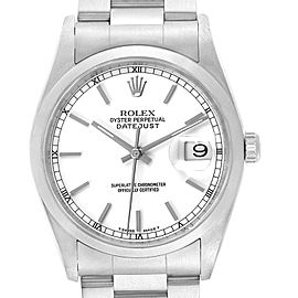 Rolex Datejust White Dial Steel Mens Watch 16200 Box Papers