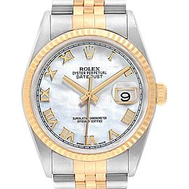Rolex Datejust Steel Yellow Gold MOP Dial Mens Watch 116233 Box Papers
