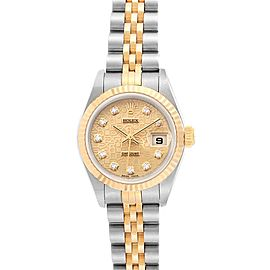 Rolex Datejust Steel Yellow Gold Diamond Dial Ladies Watch 79173 NOS