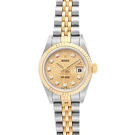 Rolex Datejust Steel Yellow Gold Diamond Dial Ladies Watch 79173 NOS