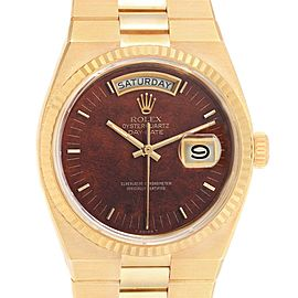 Rolex Oysterquartz President Day Date Yellow Gold Burlwood Watch 19018