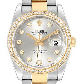 Rolex Datejust 36 Steel Yellow Gold Diamond Mens Watch 116243 Box Card
