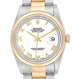 Rolex Datejust 36 Steel Yellow Gold White Roman Dial Mens Watch 16203